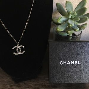 {Chanel} Classic CC Ruthenium Rhinestone Necklace
